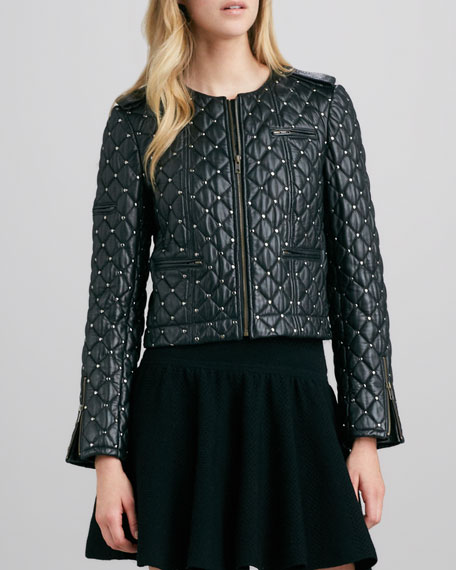 Siri Quilted Studded Leather Jacket