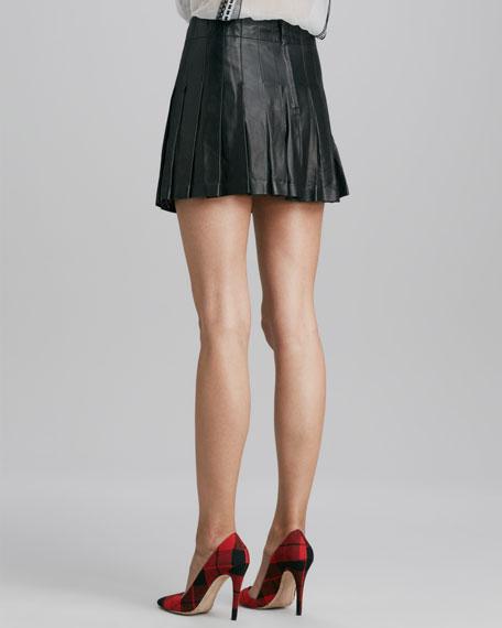 Pleated Leather Miniskirt