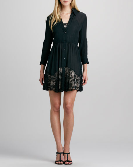 Raquel Lace-Hem Silk Shirtdress