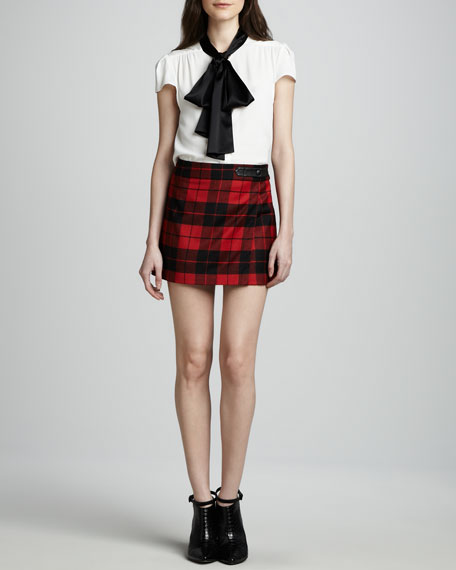 Weston Plaid Faux-Wrap Miniskirt