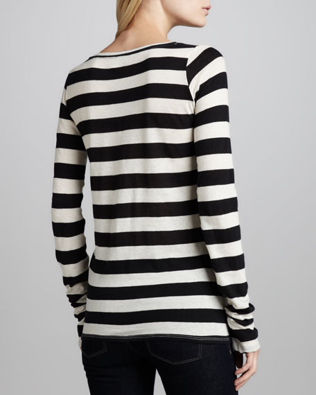 Long-Sleeve Boat-Neck Striped Top
