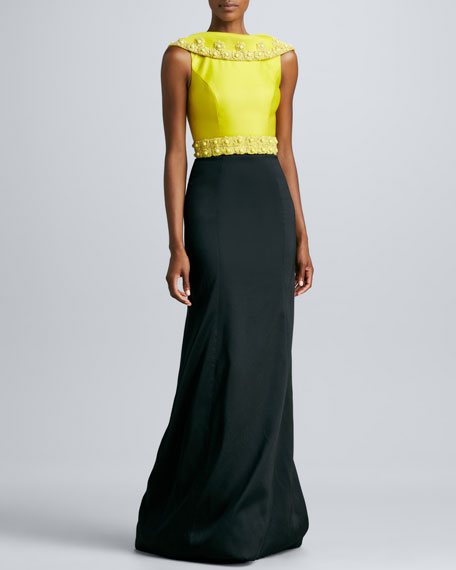 Jewel-Beaded Draped Neck Gown