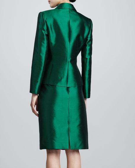 Pleated-Jacket Skirt Suit