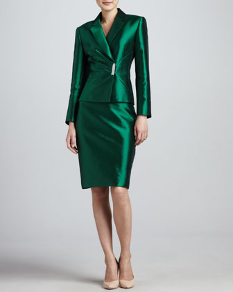 Pleated-Jacket Skirt Suit