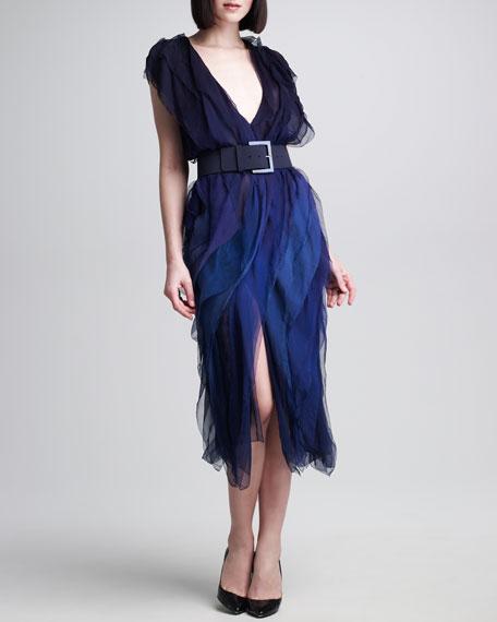 Ombre Tissue Chiffon Ribbon Dress