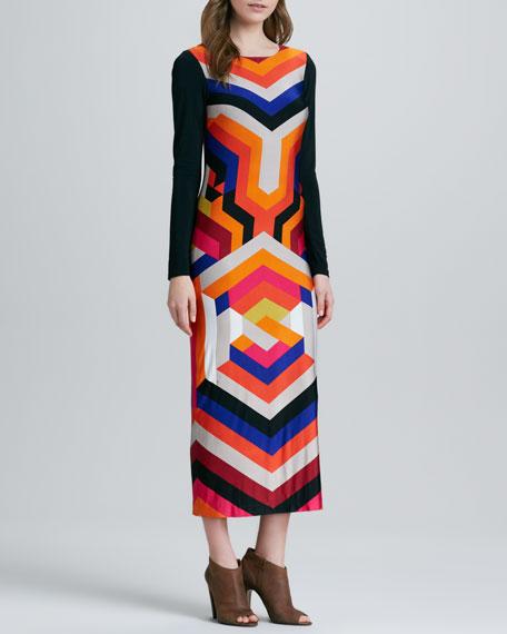 Kanza Long-Sleeve Mix-Stripe Maxi Dress