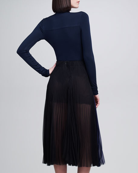 Pleated Silk Chiffon Sunray Skirt