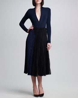 Donna Karan Pleated Silk Chiffon Sunray Skirt