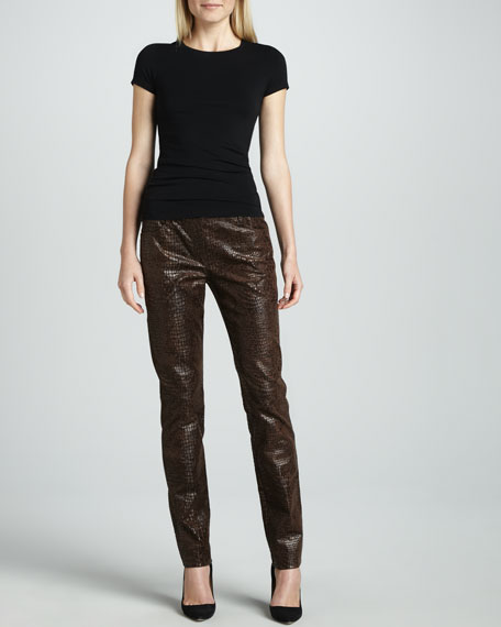 Slim Reptile-Embossed Pants, Petite