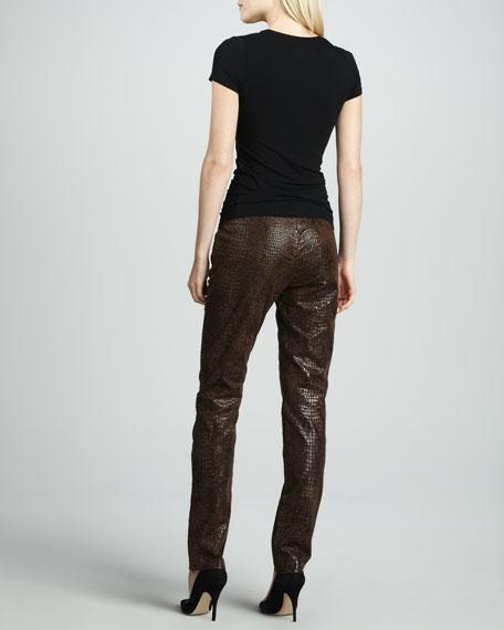 Slim Reptile-Embossed Pants, Women's