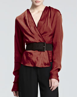 Donna Karan Satin Surplice Blouse