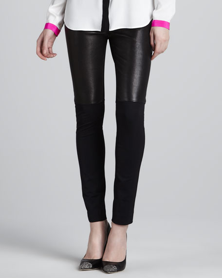 Bri Front Leather Panel Pants