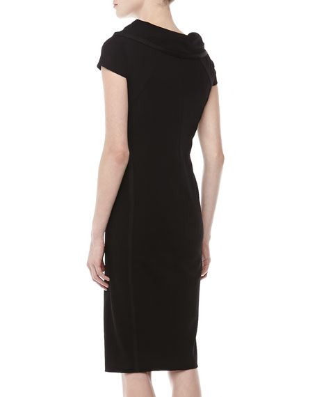 Crepe Cap-Sleeve Sheath Dress, Black