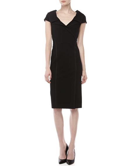 Crepe Cap-Sleeve Sheath Dress, Black