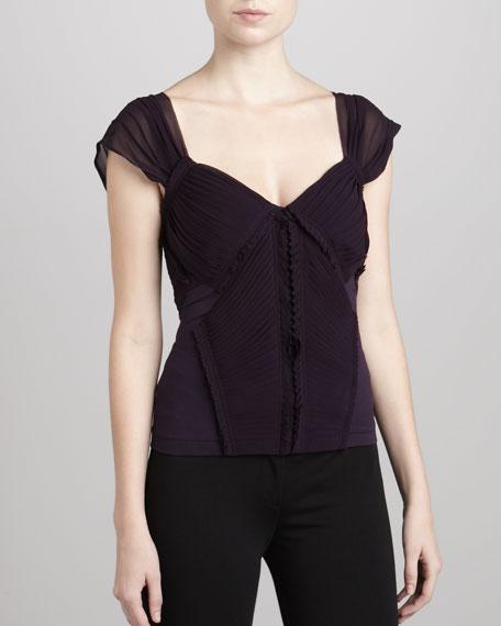 Pleated-Front Jersey Combo Top, Wild Iris