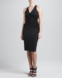 Donna Karan Jersey-Draped V-Neck Dress