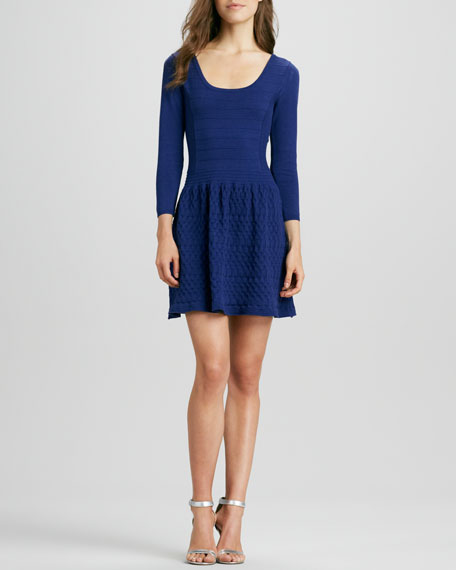 Fit-and-Flare Textured  Dress