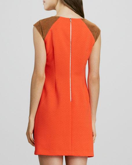 Faux-Leather Cap-Sleeve Dress