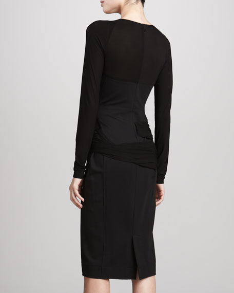 Long-Sleeve Draped Jersey Dress, Black