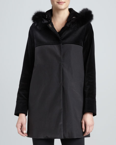 A-line Coat with Velvet Yoke