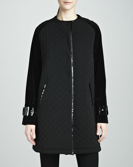 Abby Quilted Velvet-Sleeve Coat