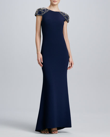 Bead-Sleeve Jersey Gown