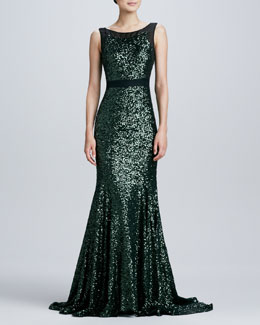 Badgley Mischka Sleeveless Mermaid Sequined Gown