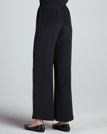 Wide-Leg Crepe Pants, Women's