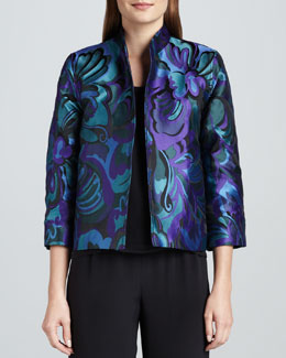 Caroline Rose Emerald City Jacquard Jacket, Petite