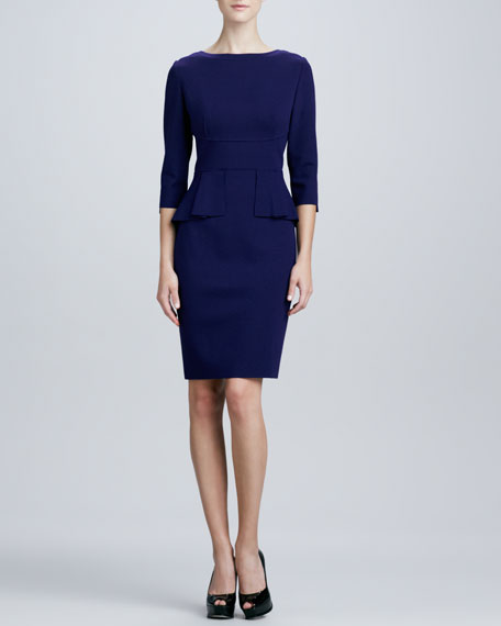 Maura 3/4-Sleeve Peplum Dress