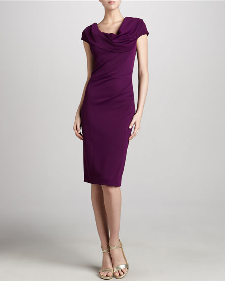 Draped-Shoulder-Cuff Dress, Violet