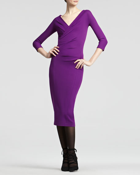 Surplice Jersey Dress, Violet