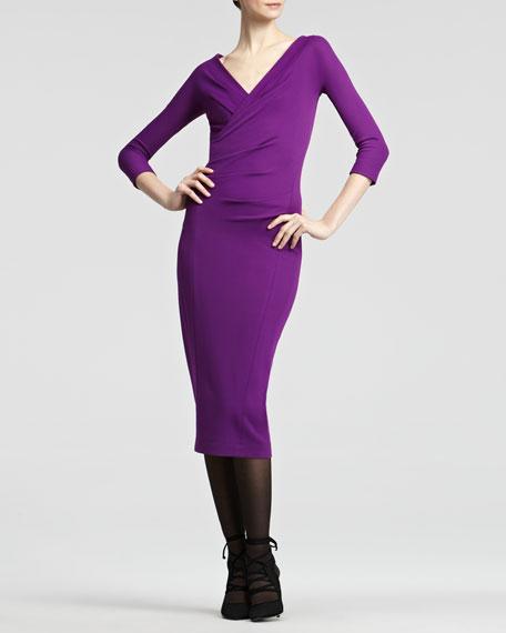 Surplice Jersey Dress, Violet