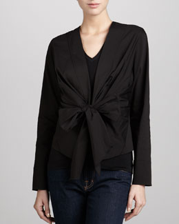 Donna Karan Wrap & Tie Shirt Jacket, Black