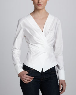 Donna Karan Wrap & Tie Shirt Jacket