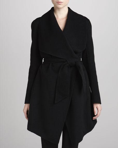 Belted Cashmere Coat, Black