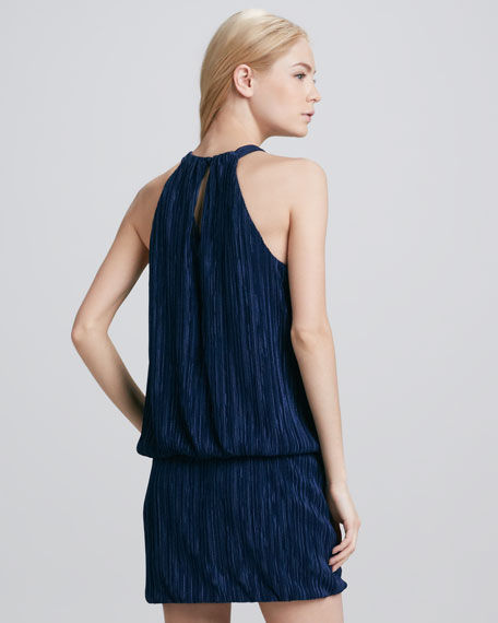 Halter-Neck Blouson Dress