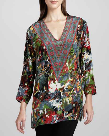 Gloria Red-Print Tunic, Women's