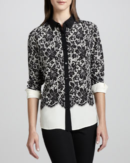 Go Silk Lace-Print Silk Blouse, Women's