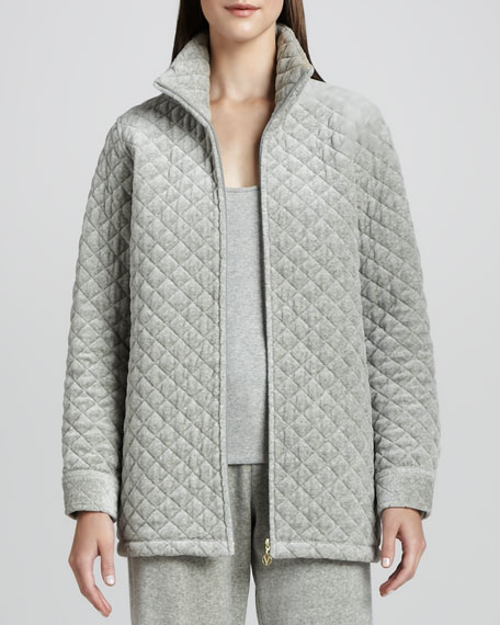 Quilted Velour Long Jacket, Petite