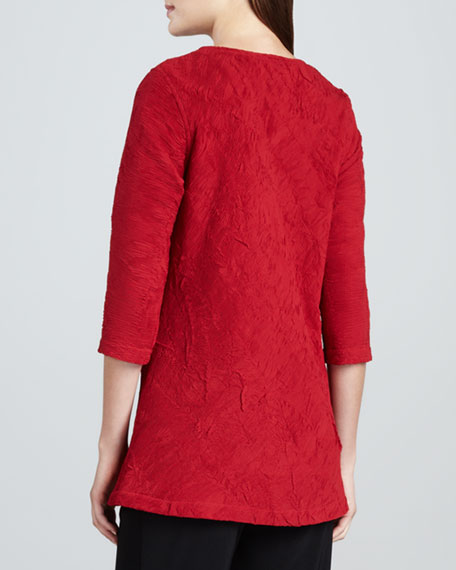 Pleated Chiffon Tunic, Red