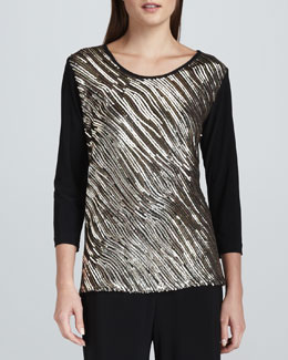 Caroline Rose Sequined Mix Easy Top, Petite