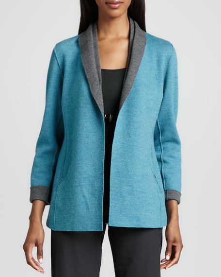 Eileen Fisher Contrast-Facing Felted Merino Jacket
