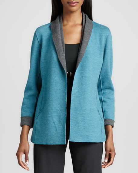 Contrast-Facing Felted Merino Jacket, Petite