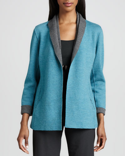 Eileen Fisher Contrast-Facing Felted Merino Jacket, Women's