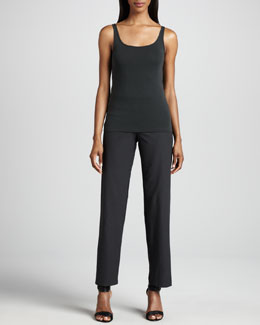 Eileen Fisher Washable-Crepe Straight-Leg Pants, Petite