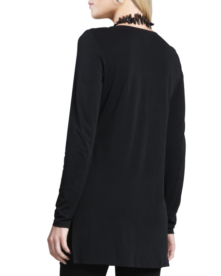 Silk Jersey Long-Sleeve Tunic