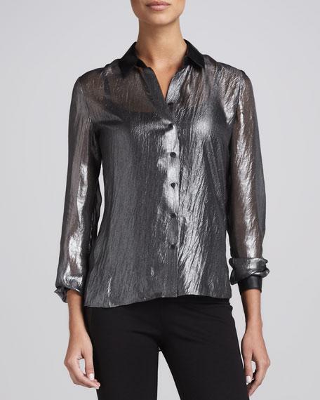 Jordana Crinkled Blouse, Black/Silver