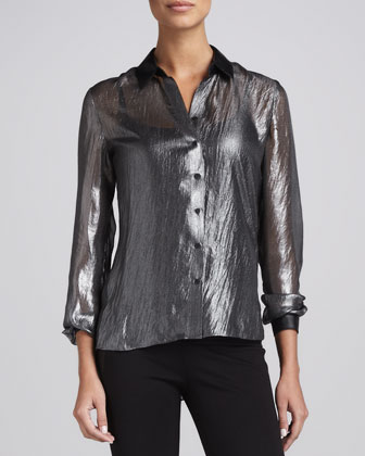 Jordana Crinkled Blouse, Black/Silver