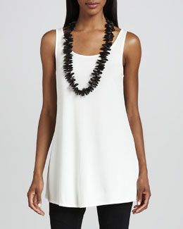 Eileen Fisher Silk Jersey Long Tunic Tank, Petite